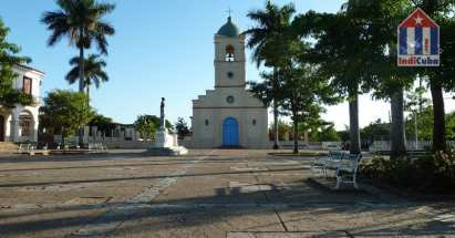 Central square with church in Cuba Vinales