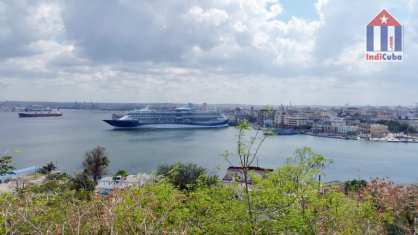 View from Casa Blanca towards Old-Havana Cuba with cruise ship