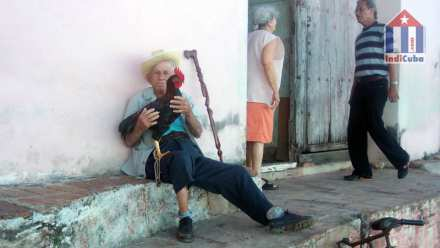 Sight seeing in the old town of Cuba Trinidad - old men with cock